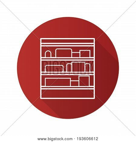 Shop shelves flat linear long shadow icon. Supermarket stand with goods. Vector outline symbol