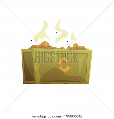 Large khaki and orange dumpster full of rubbish, waste processing and utilization cartoon vector Illustration isolated on a white background