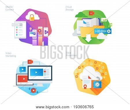 Material design icons set for mobile services and solutions, cloud storage, video marketing, data protection. UI/UX kit for web design, applications, mobile interface, infographics and print design.