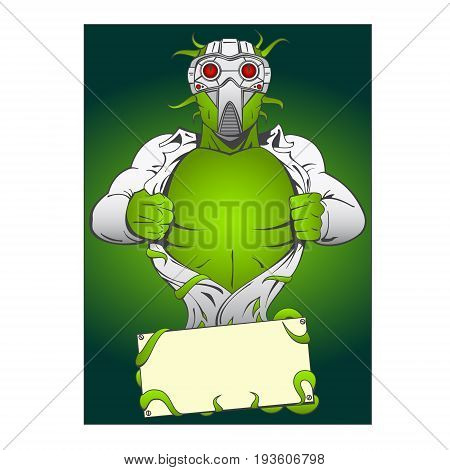 Vector drawing of a fantastic color mutant superhero in a gas mask. Done in the style of comics.