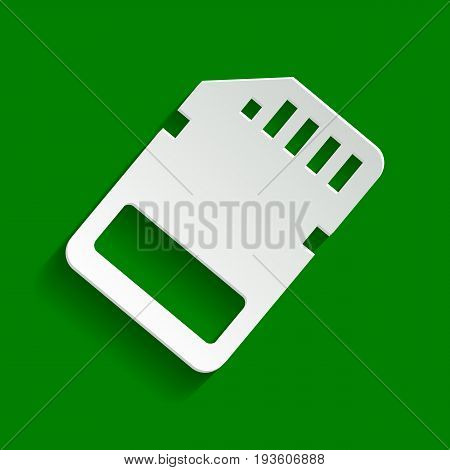 Memory card sign. Vector. Paper whitish icon with soft shadow on green background.