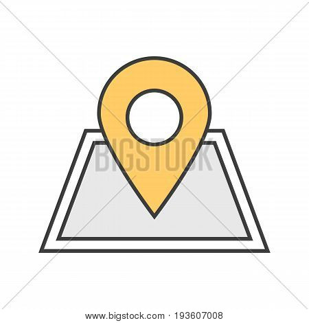 Building location pinpoint color icon. Real estate development. Isolated vector illustration