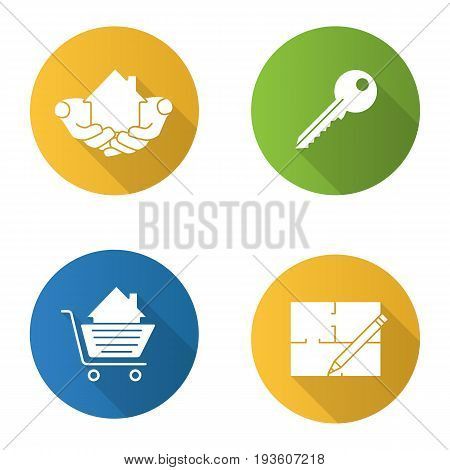 Real estate market. Flat design long shadow glyph icons set. House in hands, floor plan, key, shopping cart with building inside. Vector silhouette illustration