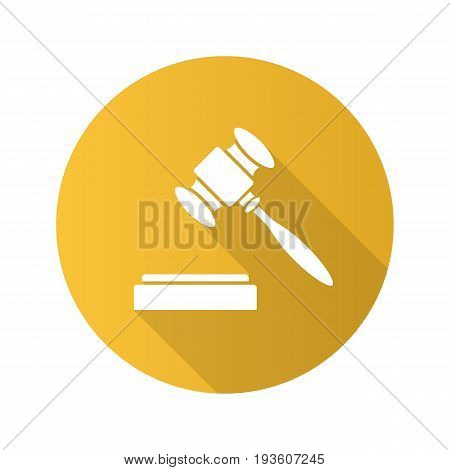 Gavel flat design long shadow glyph icon. Court hammer. Auction bid. Vector silhouette illustration