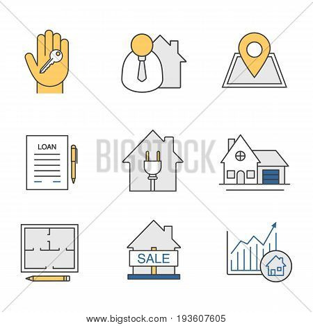 Real estate market color icons set. Broker, loan agreement, cottage, floor plan, house for sale, growth chart, hand with key, building location pinpoint. Isolated vector illustrations
