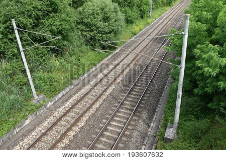 Electric traction line on double-track rail. Railways