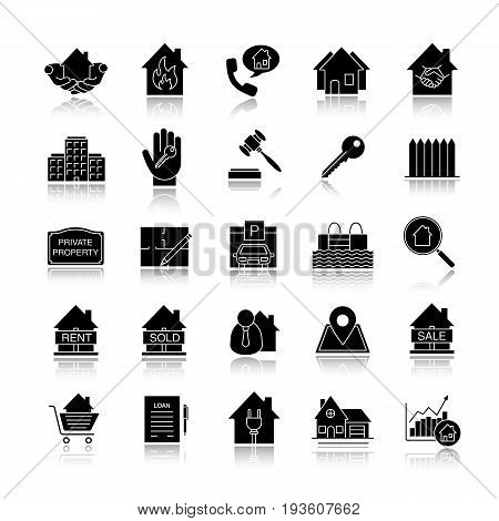 Real estate market drop shadow black glyph icons set. Property development. Building business. Home, house, blueprint, buy, rent and sell signs. Isolated vector illustrations