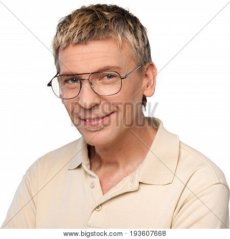 Man middle aged looking at camera close up white background isolated