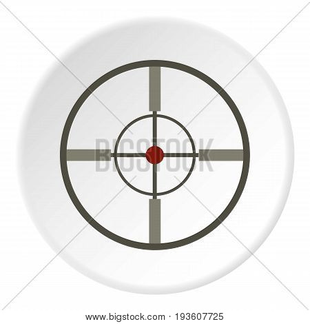 Aim icon in flat circle isolated vector illustration for web