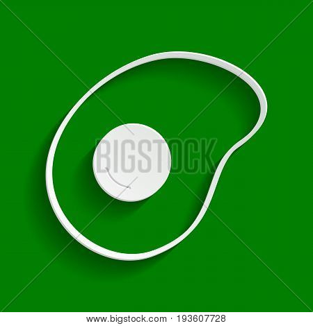 Omelet sign. Flat designed style icon. Vector. Paper whitish icon with soft shadow on green background.