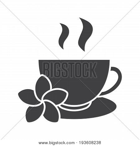 Herbal teacup glyph icon. Silhouette symbol. Tea cup with plumeria flower. Negative space. Vector isolated illustration