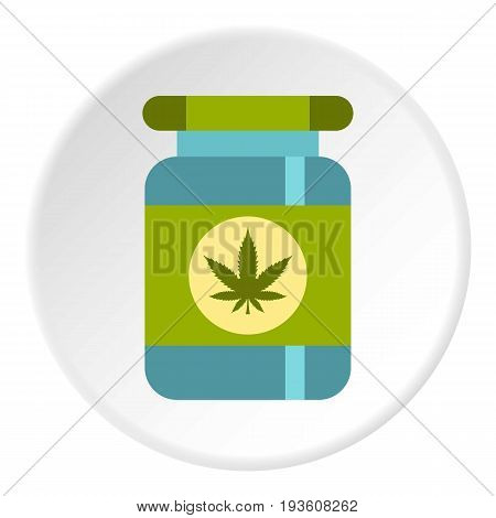 Medical marijua bottle icon in flat circle isolated vector illustration for web