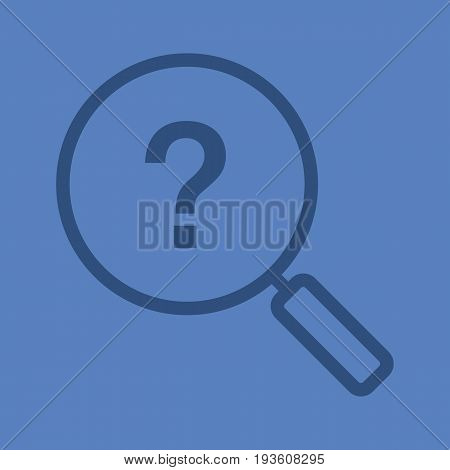 Problem solution search linear icon. Magnifying glass with question mark. Thick line outline symbols on color background. Vector illustration