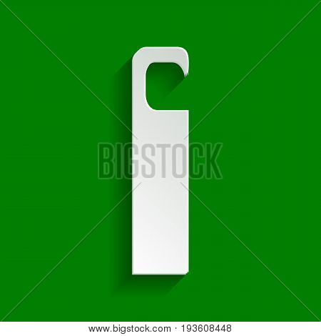 Hotel Door hanger tag sign. Vector. Paper whitish icon with soft shadow on green background.
