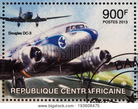 Moscow Russia - July 02 2017: A stamp printed in Central African Republic shows old passenger airplane Douglas DC-3 series circa 2013