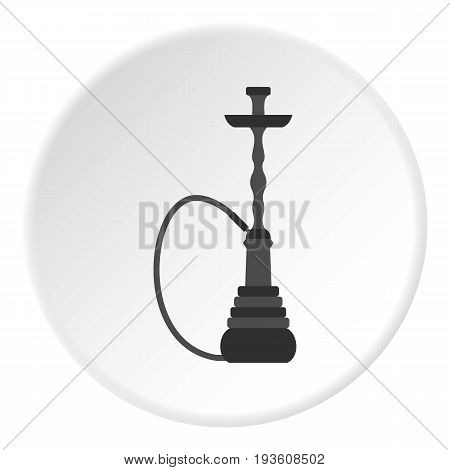 Hookah icon in flat circle isolated vector illustration for web