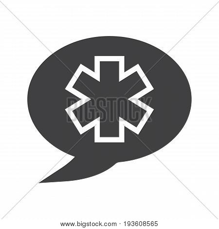 Talk about medicine glyph icon. Silhouette symbol. Chat box with star of life inside. Negative space. Vector isolated illustration