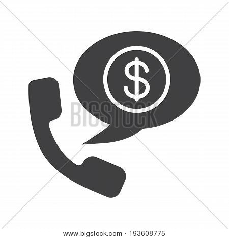 Phone talk about money glyph icon. Silhouette symbol. Handset with US dollar sign inside speech bubble. Negative space. Vector isolated illustration