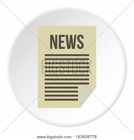 Newspaper icon in flat circle isolated vector illustration for web