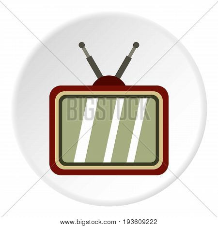 Retro TV icon in flat circle isolated vector illustration for web