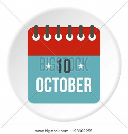 Columbus Day calendar, 10 october icon in flat circle isolated vector illustration for web