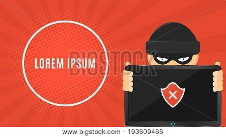 The hacker is holding a hacked electronic device in his hands. Electronic high-tech tablet. Banner for your project. Web programming. The system is hacked. Vector illustration