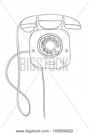 wall telephone vintage Iron telephone hand drawn line art vector illustration Editable Stroke