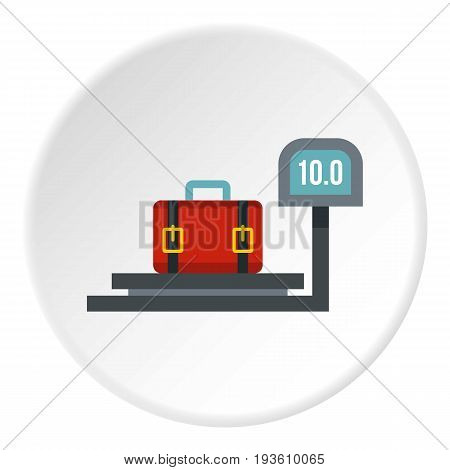 luggage weighing icon in flat circle isolated vector illustration for web