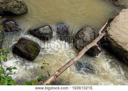 Beautiful tropical river in rainforest jungle of Bali island.