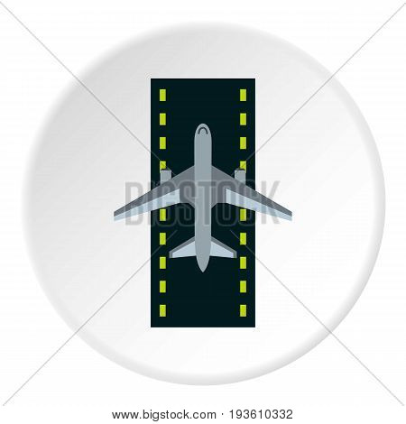 Airstrip with airplane icon in flat circle isolated vector illustration for web