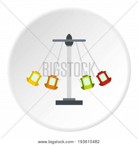 Carnival swing ride icon in flat circle isolated vector illustration for web