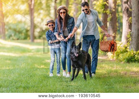 Young Interracial Family With Picnic Basket Holding Dog On Leash In Forest