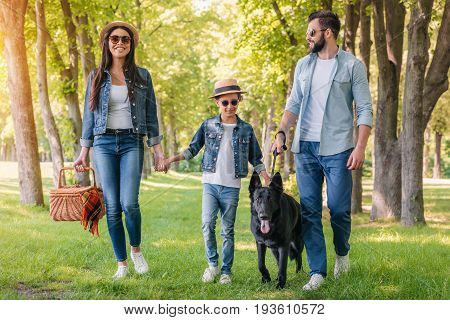 Young Happy Interracial Family With Picnic Basket Walking With Dog In Forest