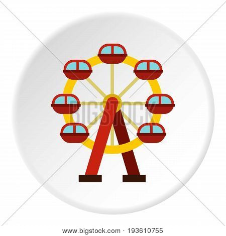 Ferris wheel icon in flat circle isolated vector illustration for web