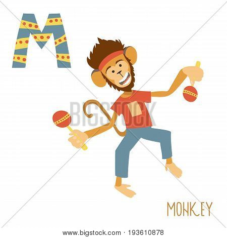 Vector kids illustration of cute animal alphabet. Letter M for the Monkey and Maracas. Cartoon monkey holding maracas and dancing isolated on white background for child illustration, baby shower, birtday card, invitiation, T-shirt. Preschool and school re