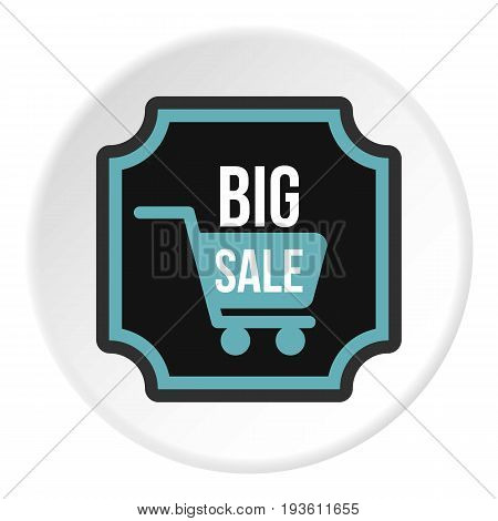 Big sale sticker icon in flat circle isolated vector illustration for web