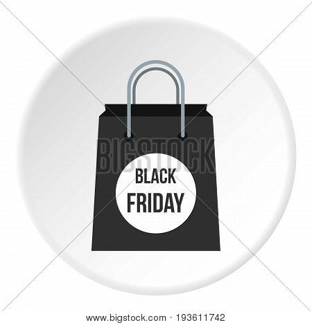 Black Friday bag icon in flat circle isolated vector illustration for web