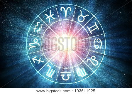 Astrology And Horoscopes Concept. Zodiac Signs In Circle. 3D Ren