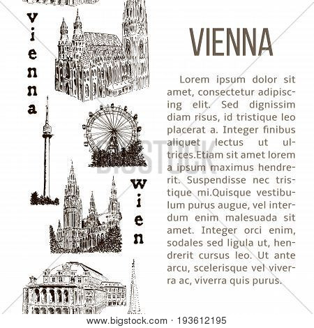 Set of Vienna symbols vertical stripe with description text. Donauturm, Stephansdom, Rathaus, Prater, Opera House. Hand drawn sketch seamless pattern vector set. For prints, textile, banner, poster