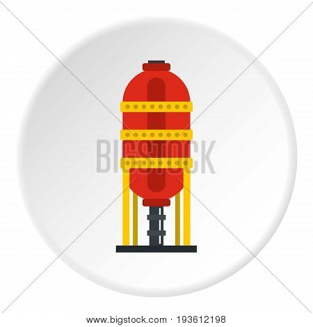 Capacity for oil storage icon in flat circle isolated vector illustration for web