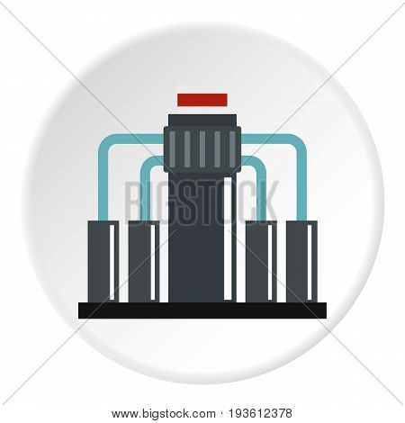 Oil refining icon in flat circle isolated vector illustration for web