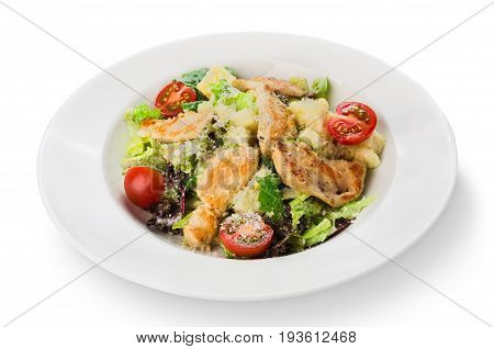 Restaurant food, caesar salad, isolated at white plate