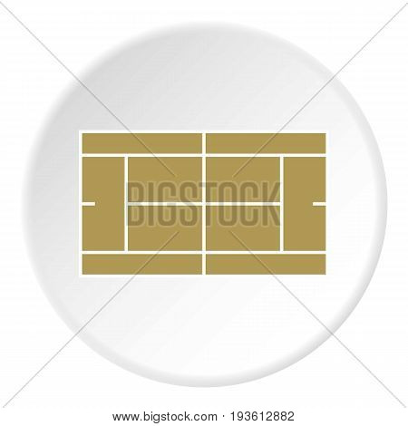 Tennis court icon in flat circle isolated vector illustration for web
