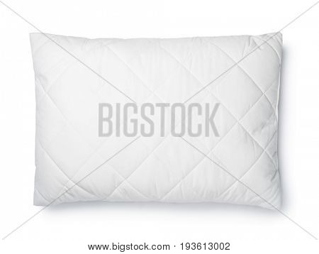Top view of white cotton pillow isolated on white