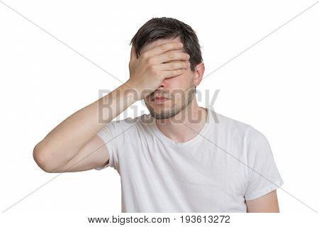 Young Disappointed Man Isolated On White Background.