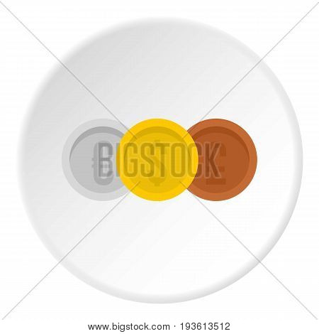 Coins euro with dollar and pound icon in flat circle isolated vector illustration for web