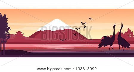 Vector illustration of a panoramic japanese landscape silhouette of a flamingo bird near a river against a backdrop of Mount Fuji