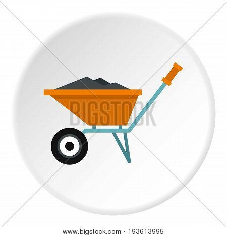Wheelbarrow with construction debris icon in flat circle isolated vector illustration for web