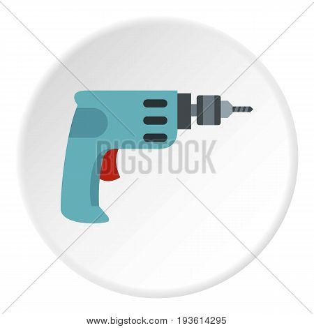Drill icon in flat circle isolated vector illustration for web