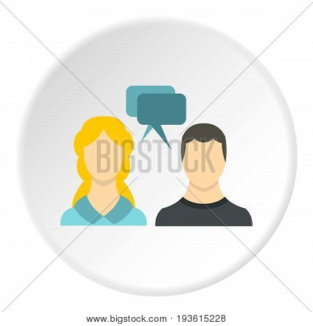 SMS chat friends icon in flat circle isolated vector illustration for web